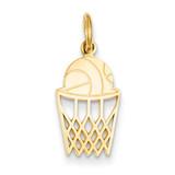 Basketball in Net Charm 14k Gold C580