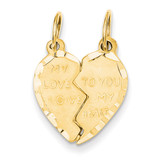 Break Apart Heart Charm 14k Gold C59