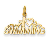 I Love Swimming Charm 14k Gold C594
