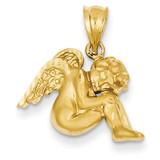 Satin & Diamond-cut Angel Pendant 14k Gold C68