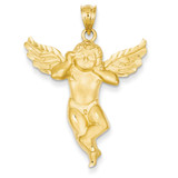 Satin Angel not listening Pendant 14k Gold C7