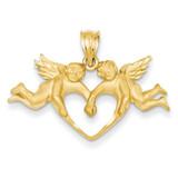 Satin Angels Heart Pendant 14k Gold C72