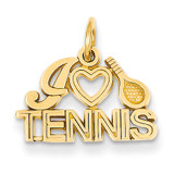 I Love Tennis Charm 14k Gold C725