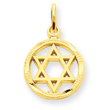 Star of David Charm 14k Gold Solid Polished C823