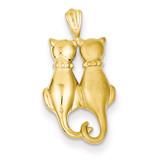 Satin & Polished Cats Pendant 14k Gold C860