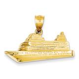 Cruise Ship Charm 14k Gold C866