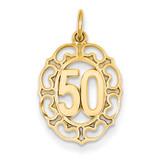 #50 in Oval Pendant 14k Gold C984