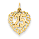 25 in a Heart Charm 14k Gold C986