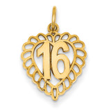 16 in a Heart Charm 14k Gold C989