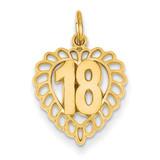 18th Heart Charm 14k Gold C990