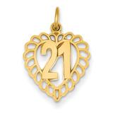 21 in Heart Charm 14k Gold C992