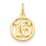 #16 in A Circle Pendant 14k Gold C993