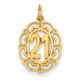 #21 in Oval Pendant 14k Gold C996