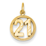 #21 in A Circle Pendant 14k Gold C997