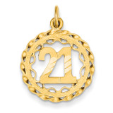 #21 in Circle Pendant 14k Gold C998