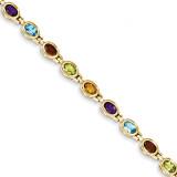 Gemstone Rainbow Bracelet 7 Inch 14k Gold CB698-7