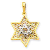 Solid Polished Meshed Star of David Charm 14K Gold & Rhodium CG37