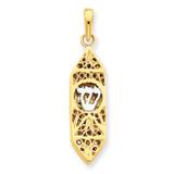 Rhoduim Mezuzah with shin Charm 14k Gold CG39