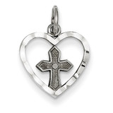 Cross in Heart Charm 14k White Gold CH133