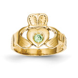 Green Synthetic Claddagh Ring 14k Gold CH226