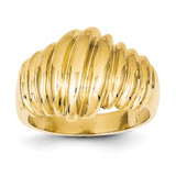 Scalloped Dome Ring 14k Gold Polished CH244