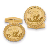 1/10oz Panda Coin Solid Polished Rope Bezel Cufflinks with coin 14k Gold CL16C