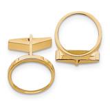 1/10oz Panda Coin Polished Plain Bezel Cufflinks Mounting 14k Gold CL19