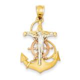 Mariners Cross Pendant 14k Tri-Color Gold D10