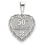 Polished Faceted Reversible 50th Anniversary Pendant 14k White Gold D1080
