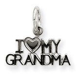 I Love My Grandma Charm 14k White Gold D1083