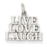 Polished Live Love Laugh Charm 14k White Gold D1092
