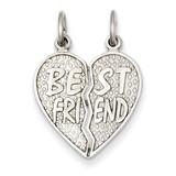 Polished Best Friend Heart Pendant 14k White Gold D1096