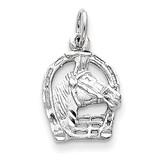 Diamond-cut Horse Head in Horseshoe Charm 14k White Gold D1103