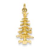 3-d Christmas Tree Charm 14k Gold D1125