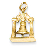 3-Dimensional Liberty Bell Charm 14k Gold Solid Polished D1203