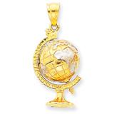 3-D Moveable Globe Pendant 14K Gold & Rhodium D1209