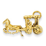 3-Dimensional Horse & Carriage Charm 14k Gold Solid Polished D1213