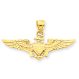 Large US Naval Aviator Badge Pendant 14k Gold D1229