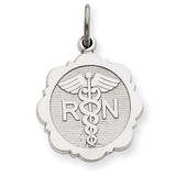 Registered Nurse Disc Charm 14k White Gold D1241