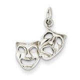 Polished Open-Backed Comedy Tragedy Charm 14k White Gold D1243