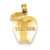 #1 Teacher Apple Pendant 14k Gold D1247