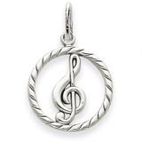 Polished Treble Clef in Circle Charm 14k White Gold D1254
