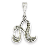 Filigree Initial A Pendant 14k White Gold Solid Polished D1281A