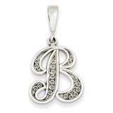 Filigree Initial B Pendant 14k White Gold Solid Polished D1281B