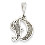 Filigree Initial D Pendant 14k White Gold Solid Polished D1281D
