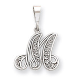 Filigree Initial M Pendant 14k White Gold Solid Polished D1281M
