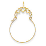 5-Heart Charm Holder 14k Gold Polished D1311
