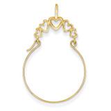 5-Heart Charm Holder 14k Gold Polished D1311