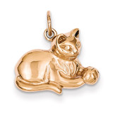 Solid Polished Open-Backed Cat Charm 14k Rose Gold D1317