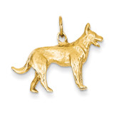 3-Dimensional German Shepherd Charm 14k Gold Solid Polished D1326